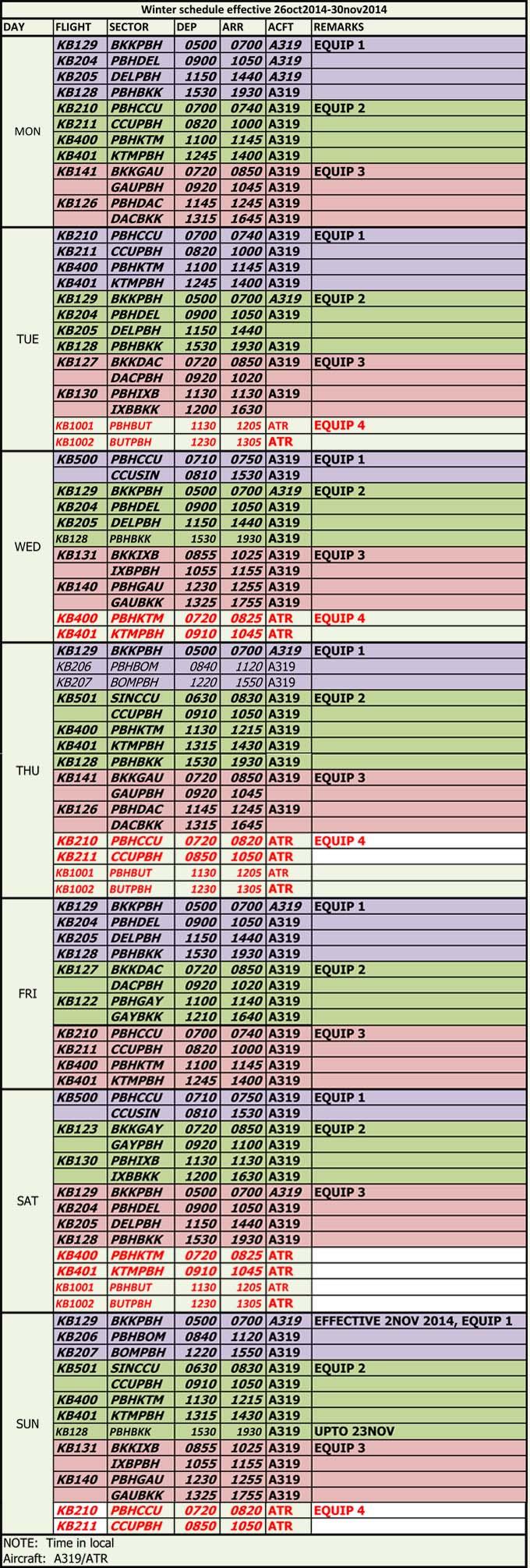 FlightSchedule 26thOct-30Nov14